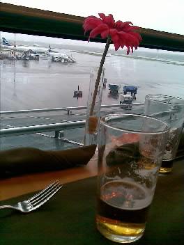 搭乗前の祝杯