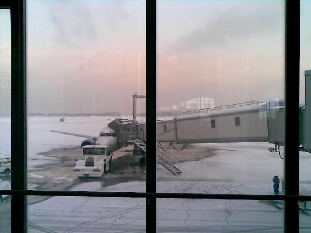 雪の新潟空港